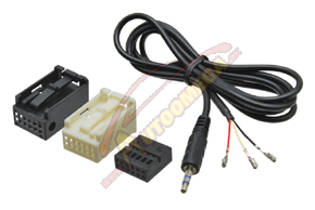 Adaptér - AUX audio AUDI/BMW/CITROEN/SEAT/ŠKODA/VW FAKRA (12-PIN QUADLOCK -> 1x Jack 3,5mm)
